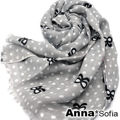 AnnaSofia-點點線蝶結-薄款純羊毛圍巾-湮