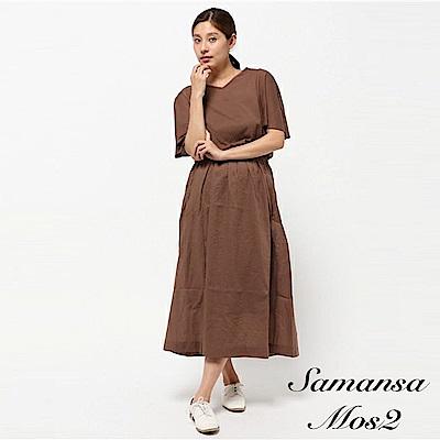 Samansa Mos2 素色V領寬袖連身洋裝