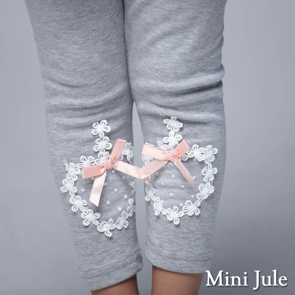 Mini Jule 童裝-內搭褲 花朵點點網紗棉質內搭長褲(花灰)