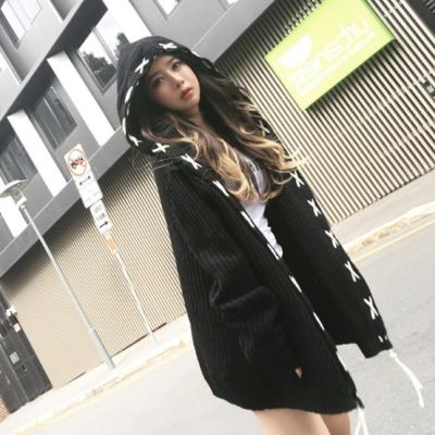 La BellezaXX穿繩滾邊針織連帽開衫毛衣外套