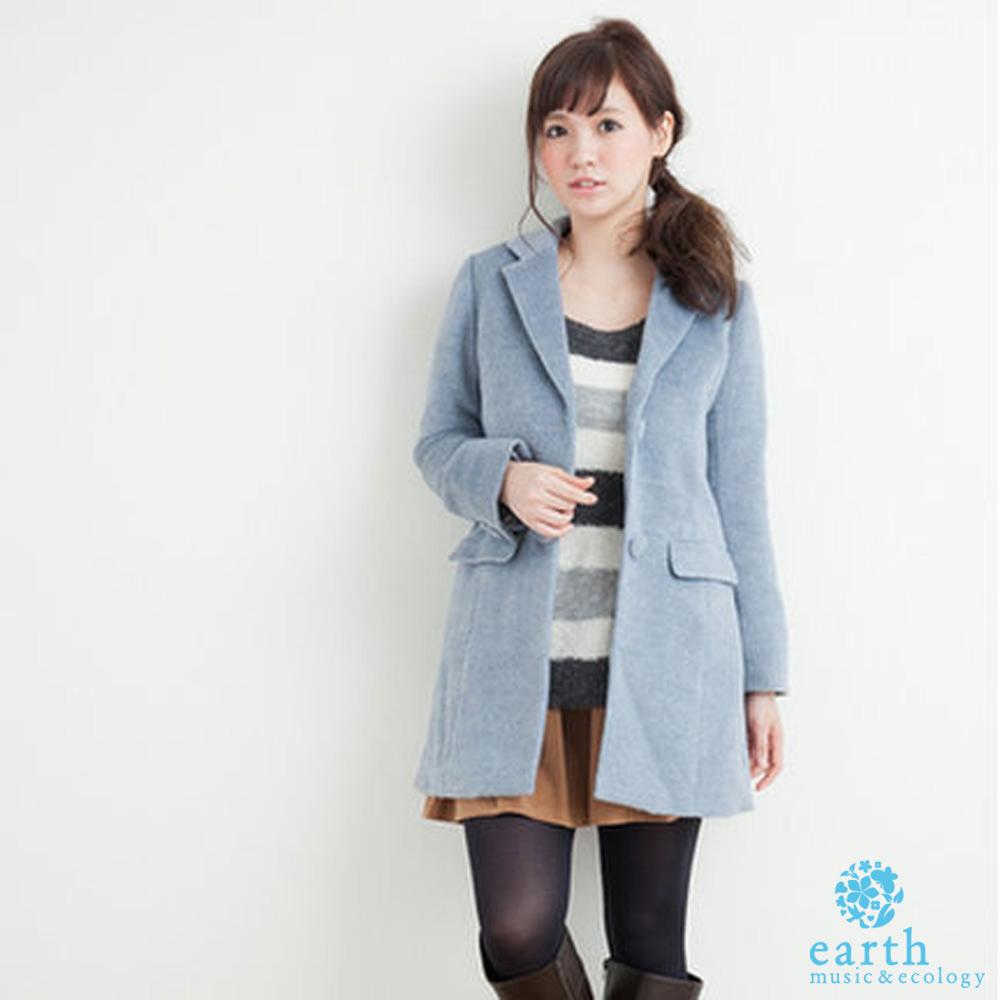 earth music&ecology 毛茸長版繽紛色彩外套