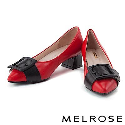 低跟鞋 MELROSE 優雅方型帶扣造型全真皮尖頭粗低跟鞋-紅