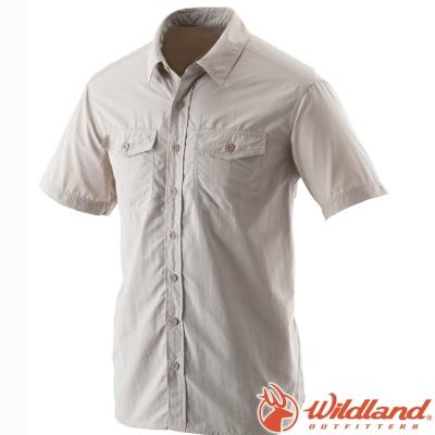 Wildland 荒野 W1206-83白卡其 男 排汗抗UV短袖襯衫