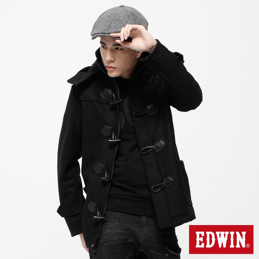 EDWIN 英倫挺拔 牛角釦中長版毛呢外套-男款(黑色)