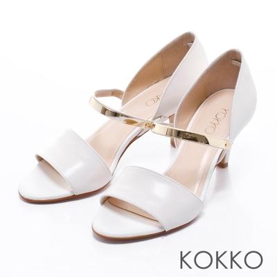 KOKKO真皮手工性感拼接金屬魚口跟鞋白