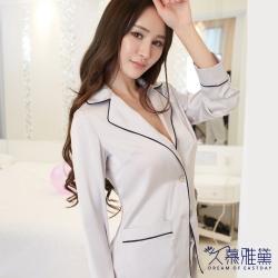 睡衣 優雅修身真絲兩件式睡衣套裝灰色 久慕雅黛