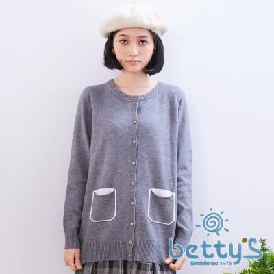 betty's貝蒂思 復古排釦造型口袋針織罩衫(灰色)