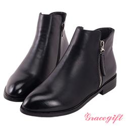 Grace gift拉鍊低跟短靴