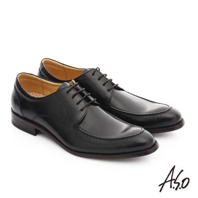 A.S.O 尊榮青紳 牛皮綁帶奈米尖頭紳士鞋 黑色