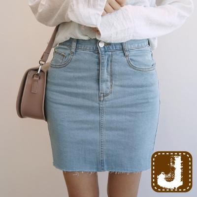 正韓 俏麗包臀單寧牛仔窄裙-(淺藍色)100%Korea Jeans