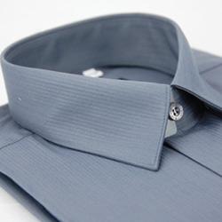 金‧安德森 灰色條紋類絲質長袖襯衫