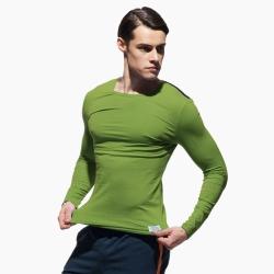 P.S極簡螢光肩條舒適型男圓領長袖T恤(綠色),Private Structure