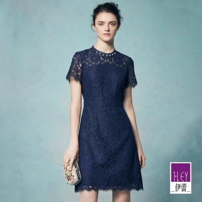 ILEY伊蕾 縷空花卉蕾絲短袖洋裝體驗價商品(藍)