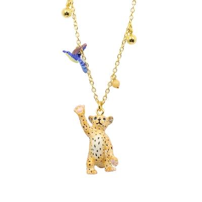 Les Nereides N2  可愛動物系列 小花豹追鳥兒  金色項鍊