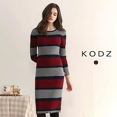 東京著衣-KODZ 歐美爆款顯瘦撞色針織設計洋裝-S.M.L(共一色)