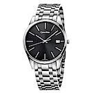Calvin Klein 卓越菁英藍寶石玻璃石英腕錶(K4N21141)-黑色/40mm
