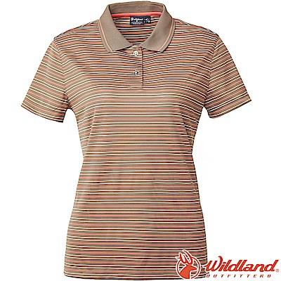 Wildland 荒野 0A61601-98栗褐色 女涼感條紋Yoke上衣