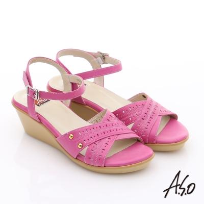 A.S.O 憶型氣墊 真皮沖孔花紋鉚釘氣墊涼鞋 桃粉紅