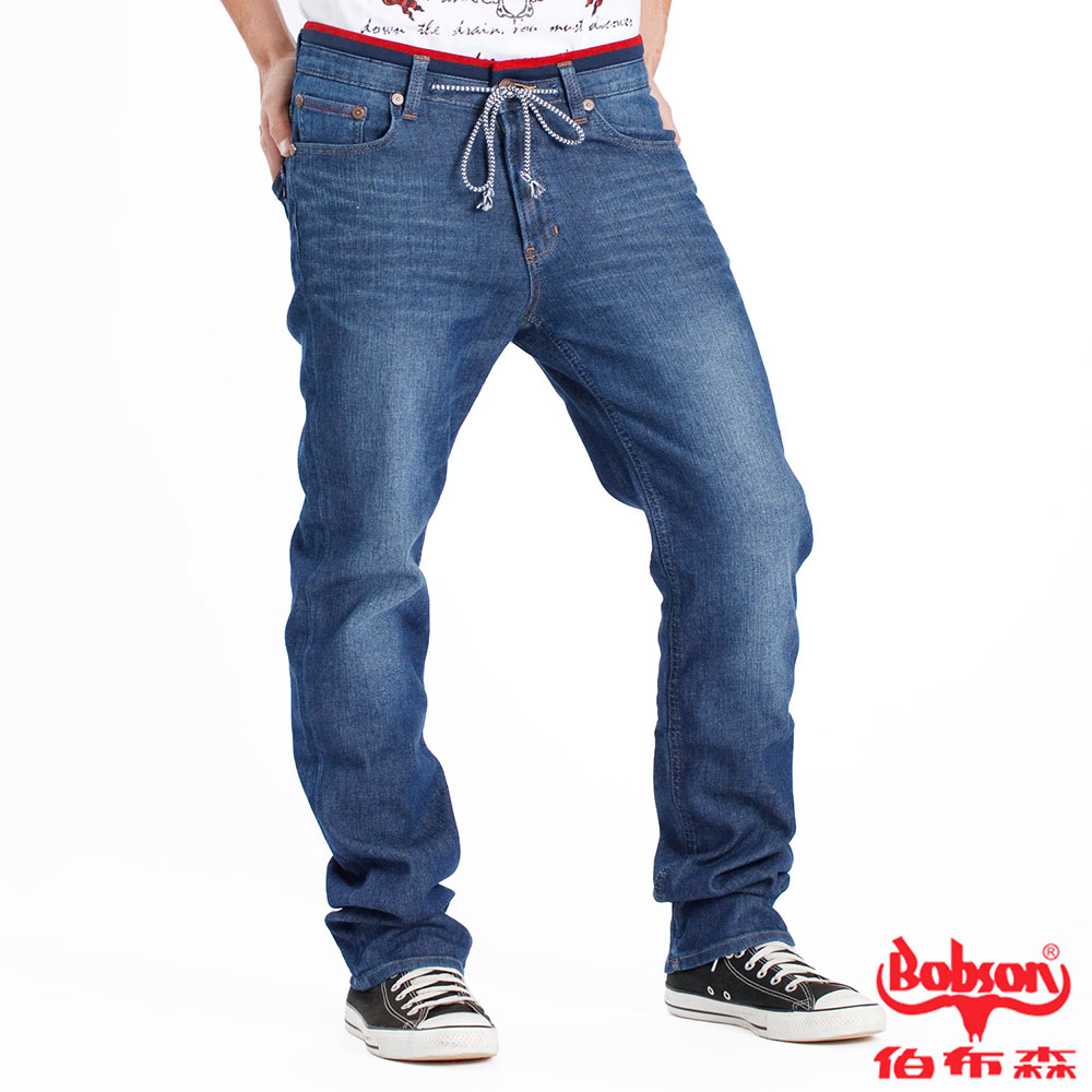 【BOBSON】男款綁帶針織直筒褲(藍53)