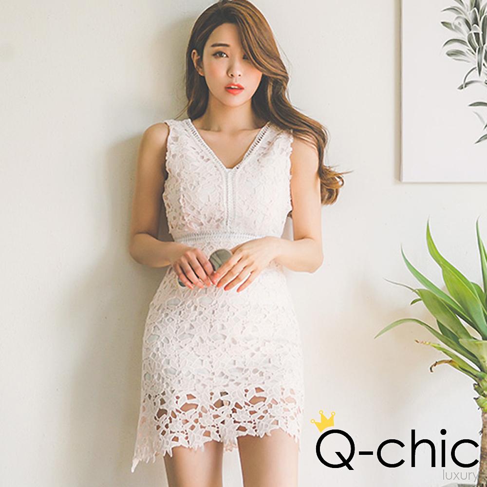 正韓 V領透膚蕾絲無袖洋裝 (共二色)-Q-chic