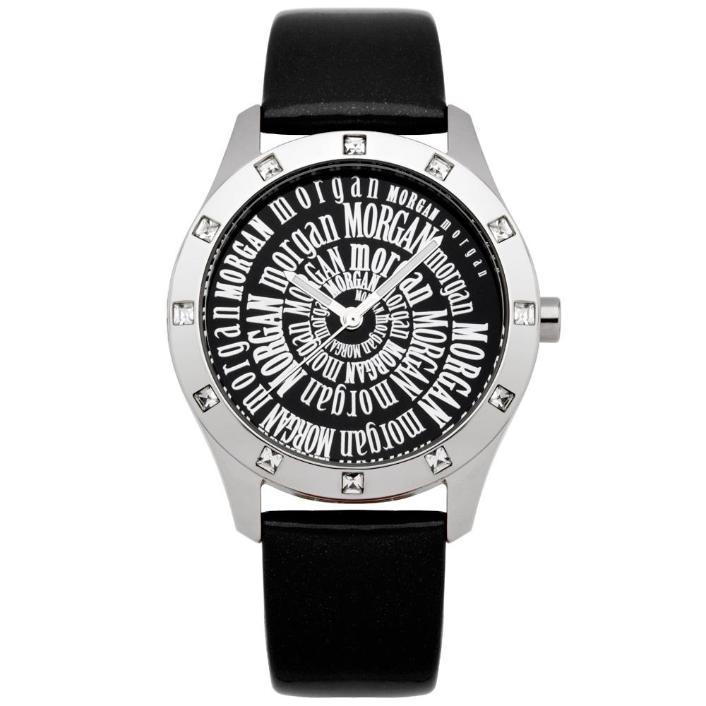 MORGAN 閃耀符號晶鑽時尚腕錶-銀x黑/37mm