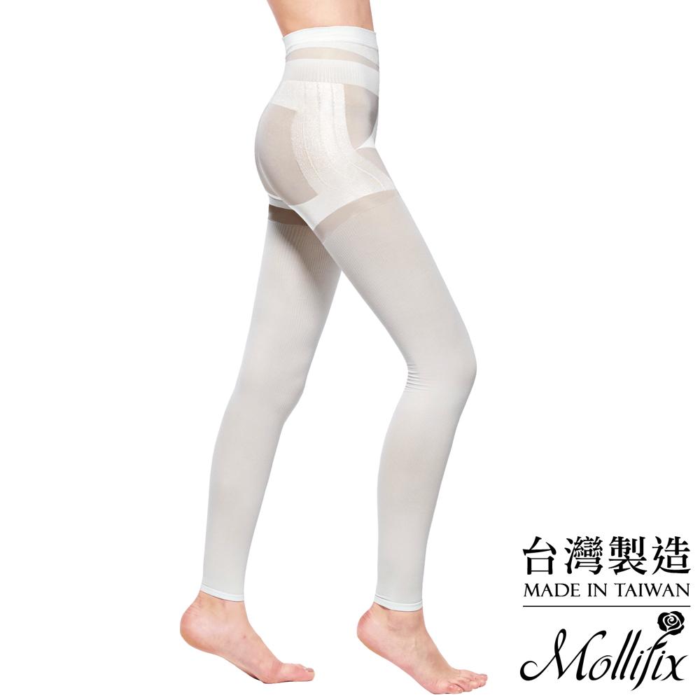 Mollifix 3D極型拉提直紋9分塑身褲 (簡約白)