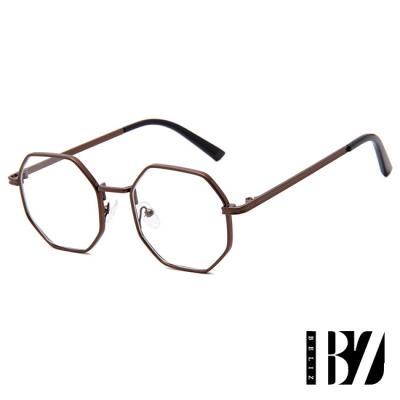 BeLiz 六角金屬 典雅細平光眼鏡 古銅黑
