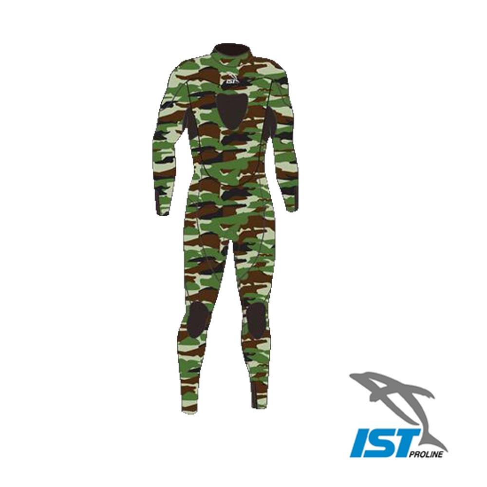 IST 漁獵迷彩色雙面尼龍布後拉鍊式長袖連身潛水防寒衣(3mm).前胸及膝蓋加貼耐磨護墊