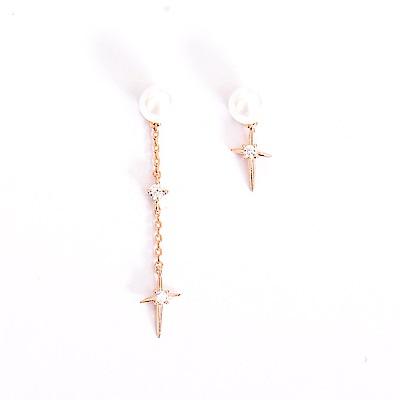 微醺禮物 正韓 鍍K金銀針 珍珠 鋯石垂墜 造型款十字 左右不對稱 耳針 耳環