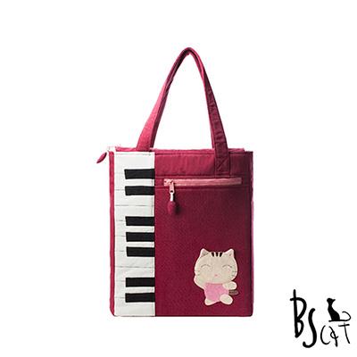 ABS貝斯貓 可愛貓咪拼布 A4可入肩背包 提袋 (暗紅) 88-200