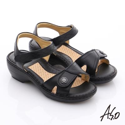 A.S.O 雙料紓壓 真皮手縫奈米氣墊涼鞋 黑