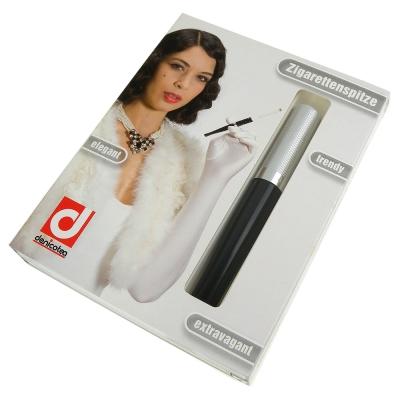 denicotea Long長煙嘴系列-彈簧煙嘴(銀立體飾紋)-德國進口