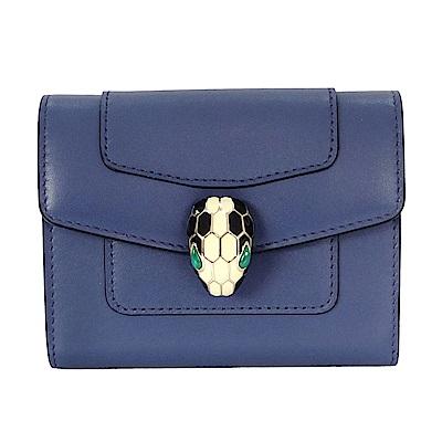 BVLGARI 寶格麗Serpenti系列小牛皮琺瑯蛇頭釦環多層式信用卡夾 (靛藍拓帕石)