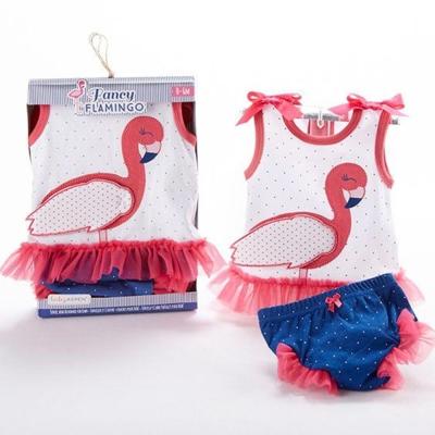 Baby Aspen 小紅鶴無袖包屁褲套裝彌月2件組