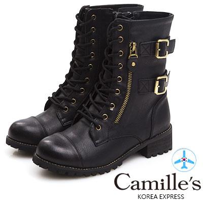 Camille's 韓國空運-金屬釦皮帶綁帶雙拉鍊軍靴-黑色
