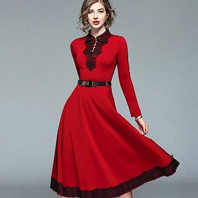 ABELLA 艾貝拉 紅色翻領圓釦拼接蕾絲附皮帶洋裝(S-2XL)