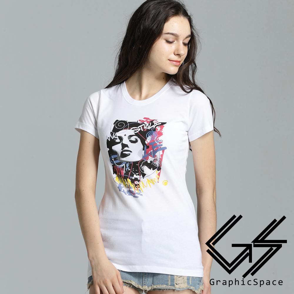 繽紛色彩人像圖案磨毛水洗長版T恤 (共二色)-GraphicSpace