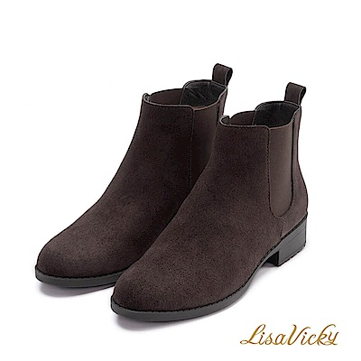 LisaVicky學院風格側伸縮低跟短靴-沉穩咖啡色