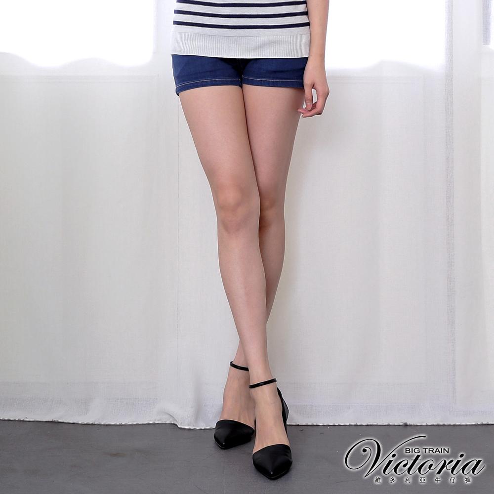 Victoria 高腰剪接雙釦牛仔短褲-女-深藍