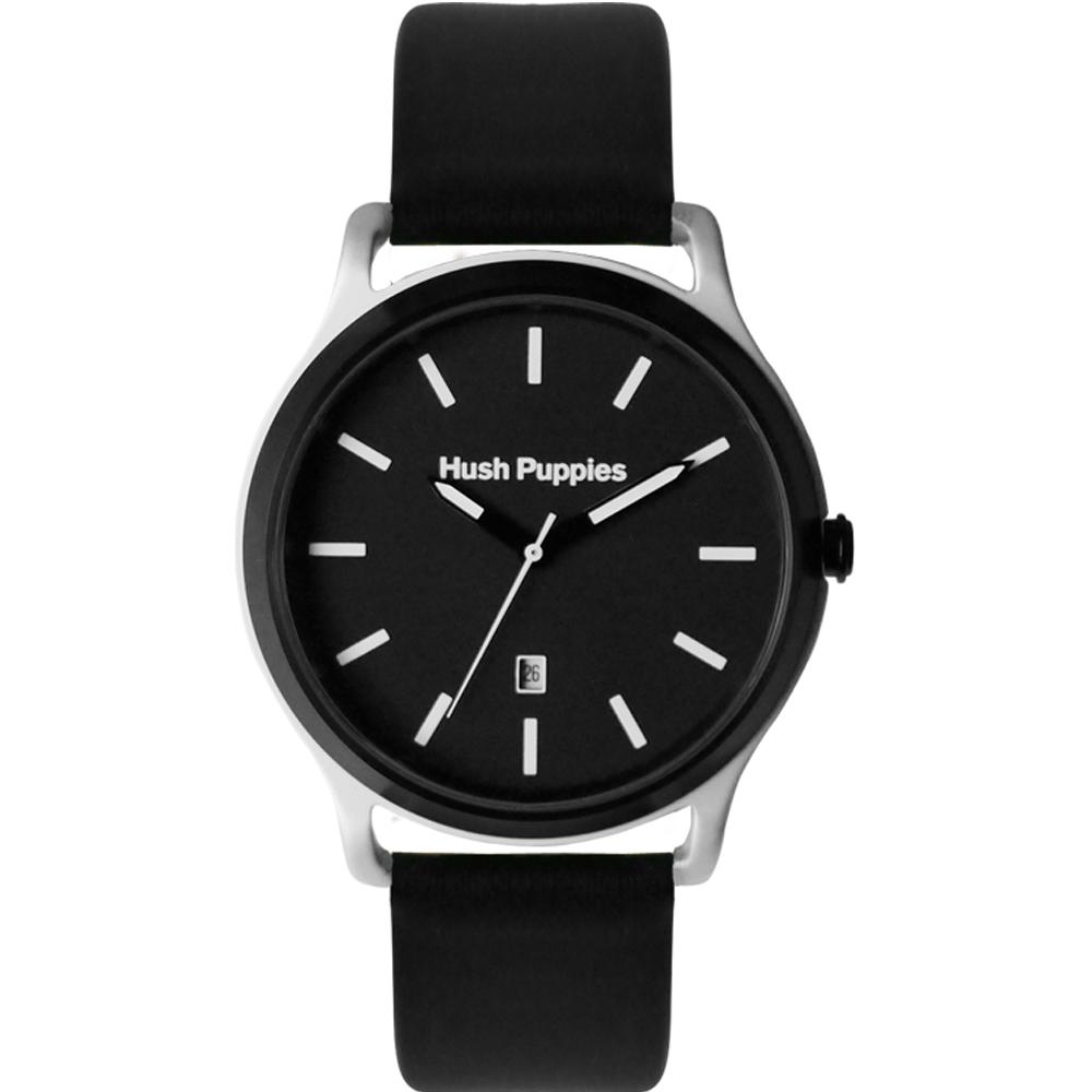 Hush Puppies 亮彩質感休閒腕錶-IP黑x鋁合金電染銀白色/45mm