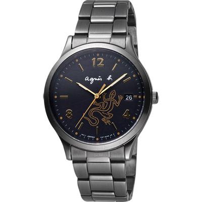 agnes b. 巴黎城市戀人腕錶(BZ7003P1)-黑x金時標/36mm