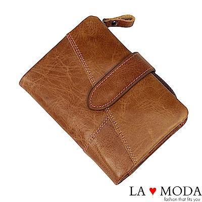 La Moda 旅遊出國超安心 防盜刷防RFID偵測真皮牛皮大容量短夾(棕)
