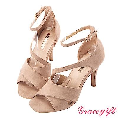Grace gift-交叉縷空設計繫帶細高跟涼鞋 杏