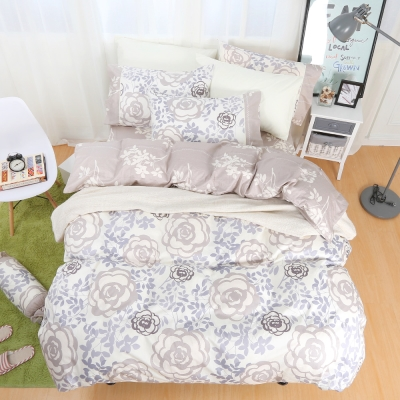 鴻宇HongYew 100%精梳棉 香榭玫瑰 雙人四件式兩用被床包組