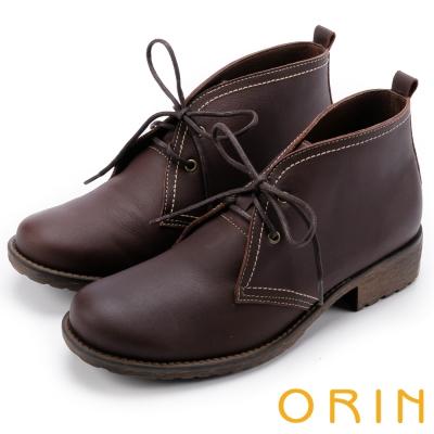 ORIN 復古學院 素面牛皮綁帶踝靴-咖啡
