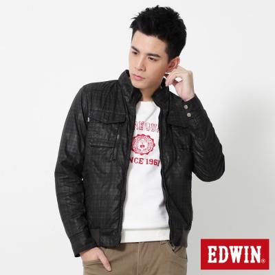 EDWIN 簡約立領防寒外套-男-黑灰