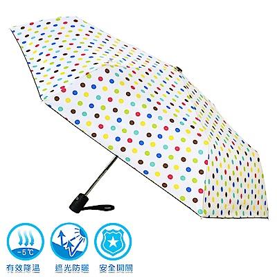 2mm 100%遮光 黑膠降溫多段式自動開收傘 (點點)