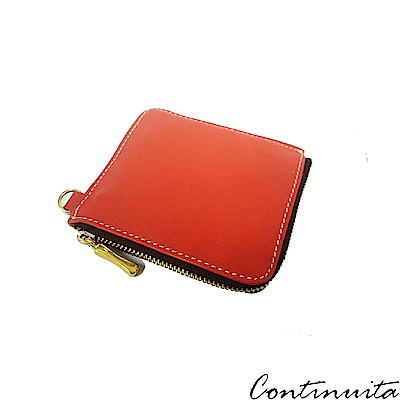 Continuita 康緹尼 頭層牛皮日本雙層多功能萬用鈔票卡夾零錢包-紅色