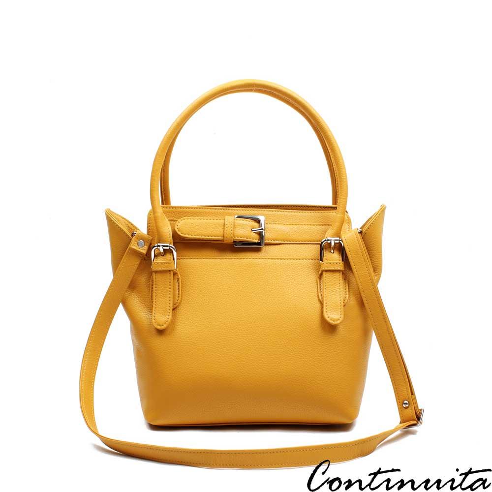 Continuita 康緹尼 頭層牛皮奧地利璀璨簡約大方包-黃色