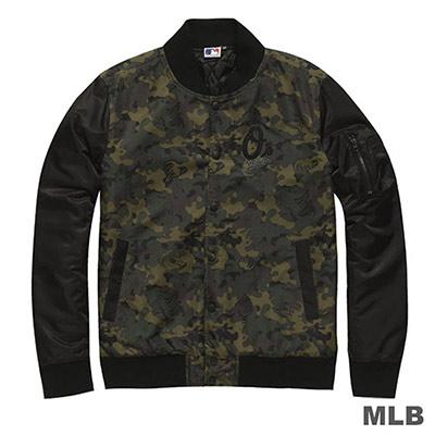MLB-巴爾的摩金鶯隊休閒合身迷彩棒球外套-深綠(男)